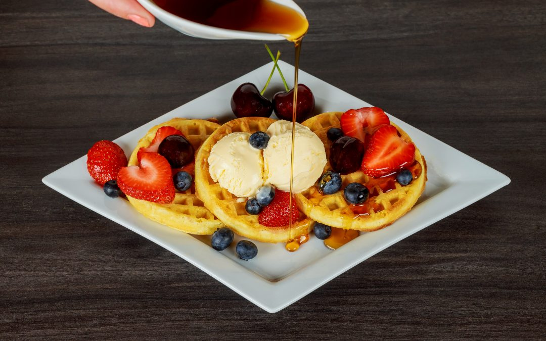 Belgian Waffles with Cinnamon Vanilla and Maple Syrup